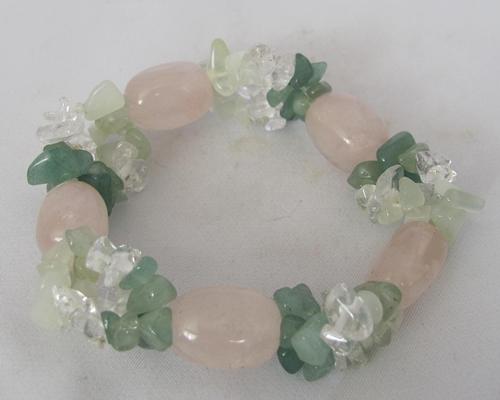 rozenkwarts armband met aventurijn en bergkristal en prehniet