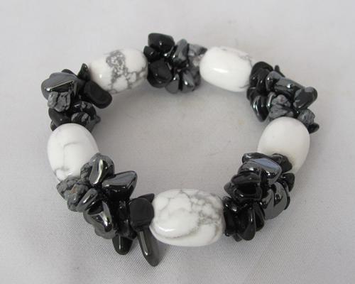 howliet armband met sneeuwvlokobsidiaan, hematiet en onyx