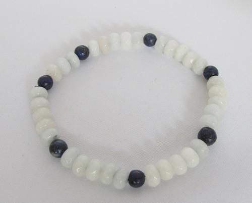 aquamarijn armband, met kraaltjes van lapis lazuli